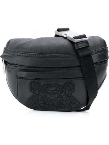 Кожаная черная поясная сумка с вышивкой Kenzo