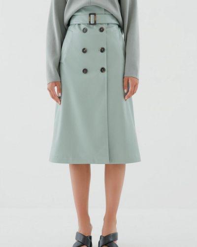Кожаная зеленая юбка Zarina