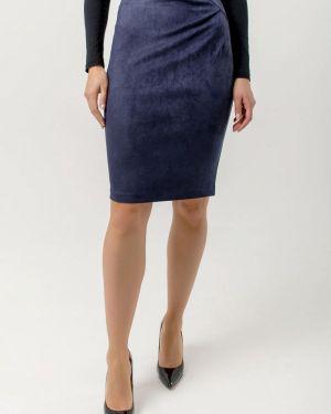 Кожаная юбка синяя осенняя Kotis Couture