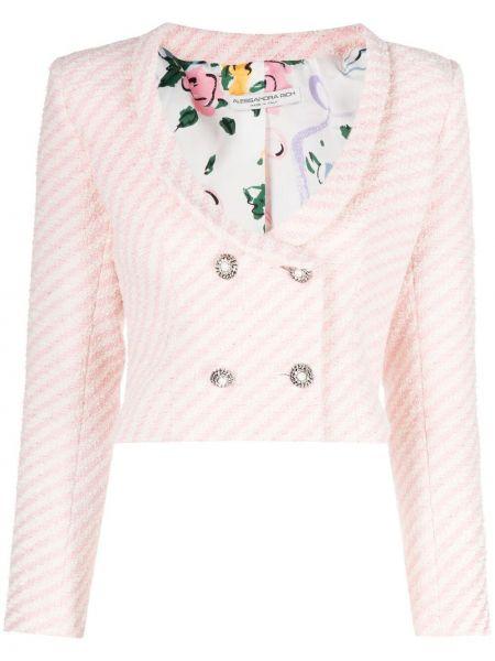 Розовый удлиненный пиджак двубортный на пуговицах Alessandra Rich