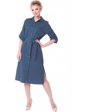 Платье миди в горошек джинсовое Zip-art