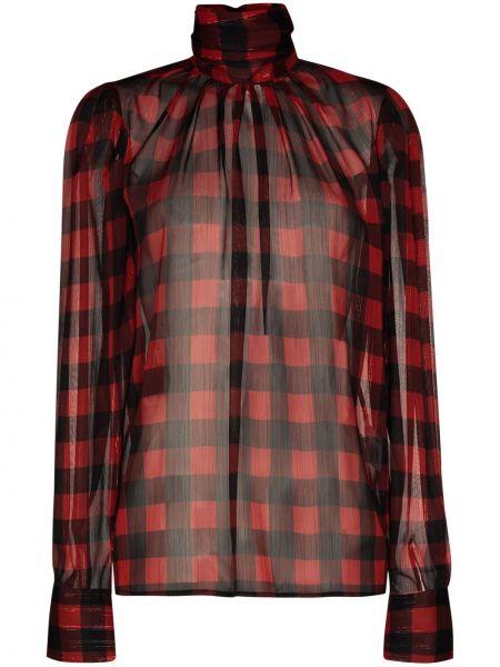 Красная прямая блузка с длинным рукавом с воротником на пуговицах Anouki