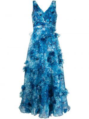 Синее платье без рукавов с аппликациями Marchesa Notte