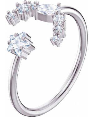 Кольцо металлический белый Swarovski
