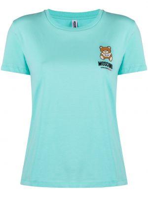 Niebieski t-shirt bawełniany krótki rękaw Moschino Underwear
