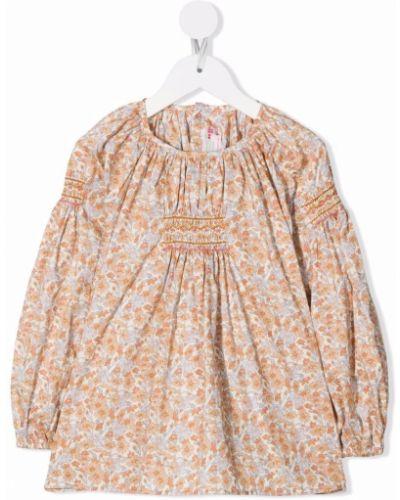 Bluzka w kwiaty - beżowa Bonpoint