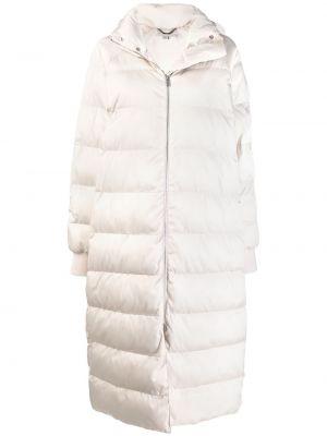 Белый длинное пальто с капюшоном на молнии Stella Mccartney