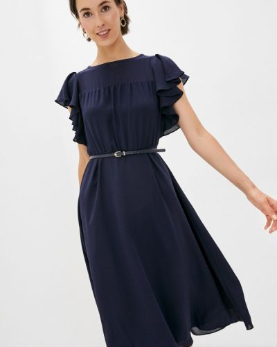Синее прямое платье Lusio
