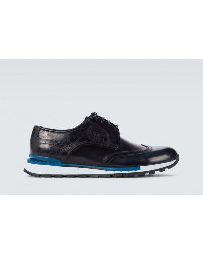 Niebieskie sneakersy skorzane sznurowane Berluti