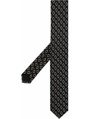 Krawat z printem - biały Giorgio Armani