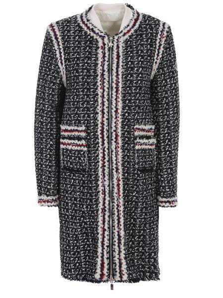 Черное пуховое пальто с воротником с вырезом Moncler Gamme Rouge