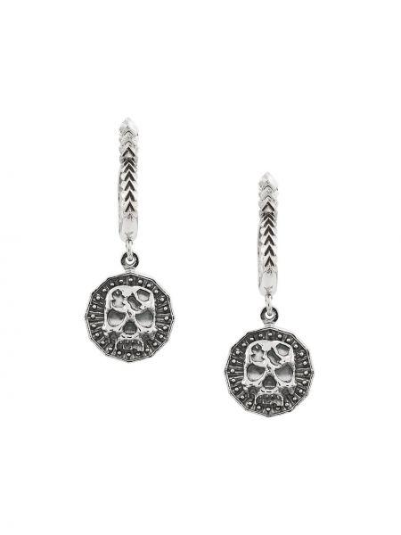 Серебряные серьги с подвесками на кнопках круглые Emanuele Bicocchi