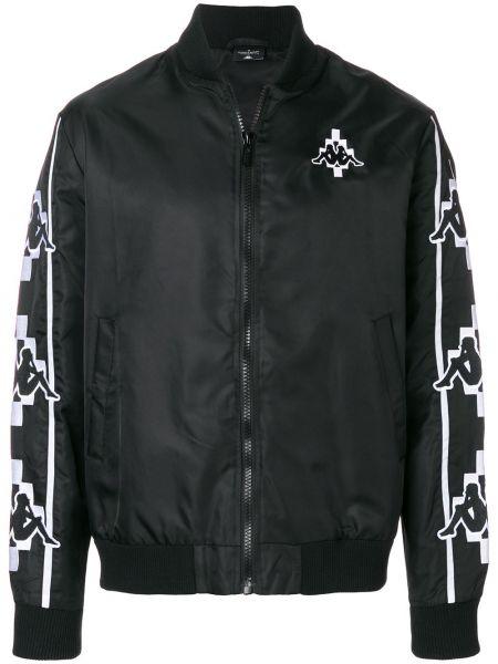 Prążkowana czarna kurtka z haftem Marcelo Burlon County Of Milan