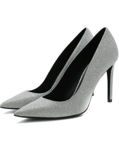 Туфли на высоком каблуке кожаные с глиттером Balmain