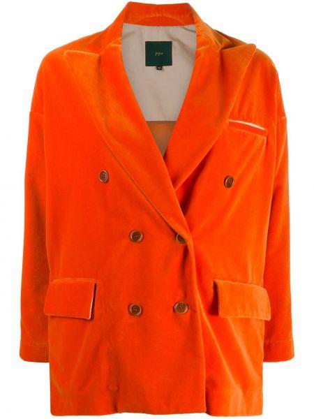 Бархатный пиджак двубортный с карманами Jejia