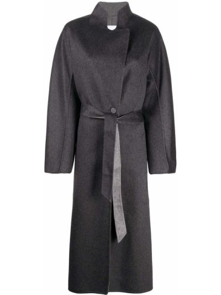 Серое пальто с поясом с запахом с воротником Agnona