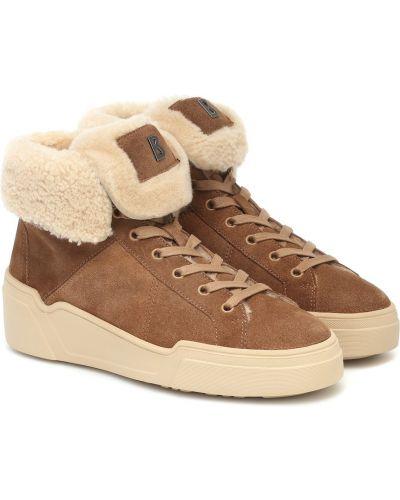 Замшевые коричневые высокие кроссовки с опушкой Bogner