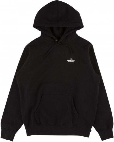 Bawełna czarny bluza z kapturem z kapturem z długimi rękawami Supreme