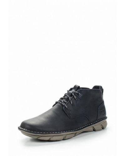 Синие кожаные ботинки Caterpillar