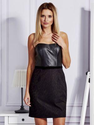 Czarna sukienka wieczorowa koronkowa sylwestrowa Fashionhunters