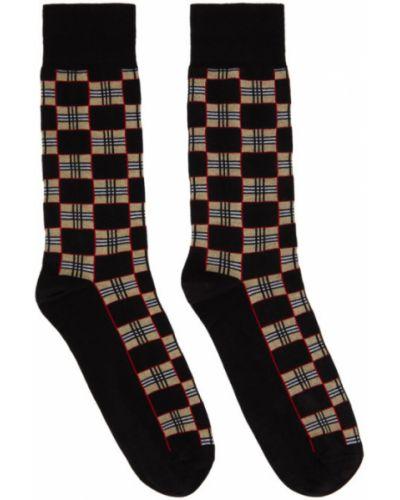 Bawełna czarny wysoki skarpety rozciągać z mankietami Burberry