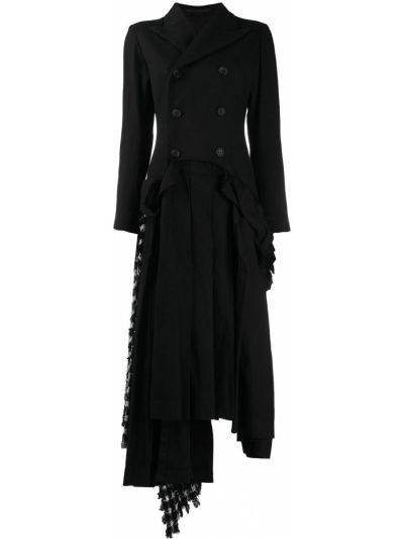 Шелковое платье на пуговицах со вставками двубортное Yohji Yamamoto