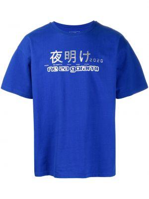Хлопковая с рукавами синяя прямая рубашка с короткими рукавами Rassvet
