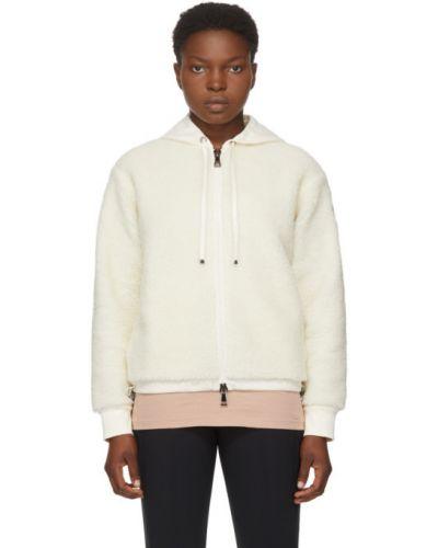 Белый длинный свитер с капюшоном с заплатками Moncler
