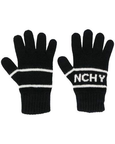 Шерстяные тонкие черные перчатки Givenchy Kids