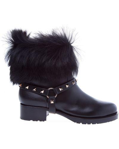 Кожаные ботинки с заклепками на каблуке Valentino