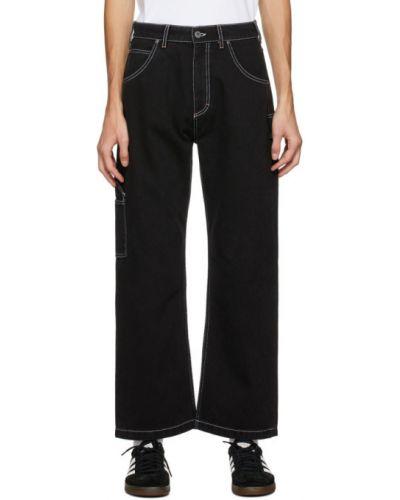 Кожаные белые прямые джинсы стрейч с заплатками Rassvet