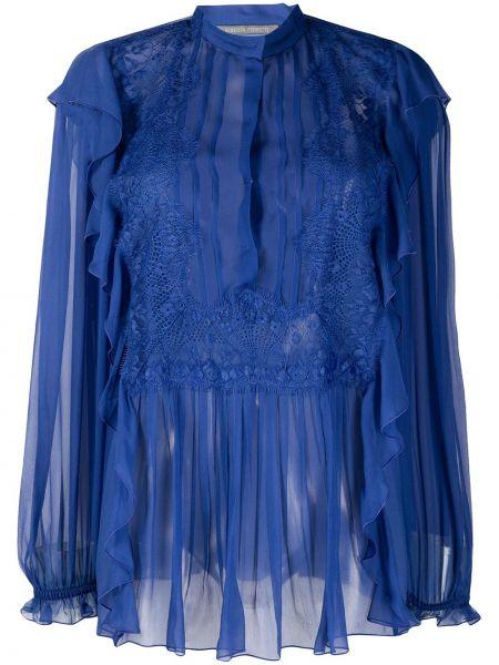 Шелковая блузка со вставками с вырезом Alberta Ferretti