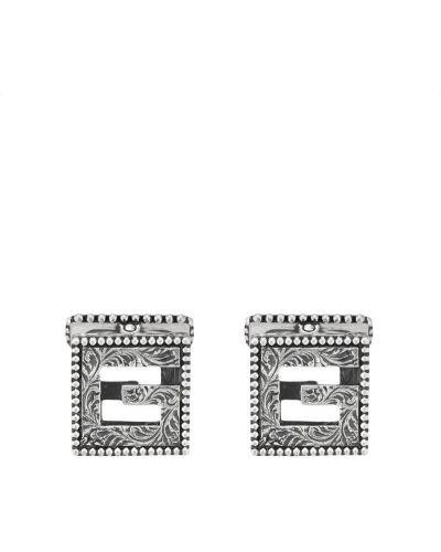Запонки серебряный Gucci