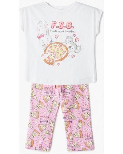 Пижама белая розовый Sela