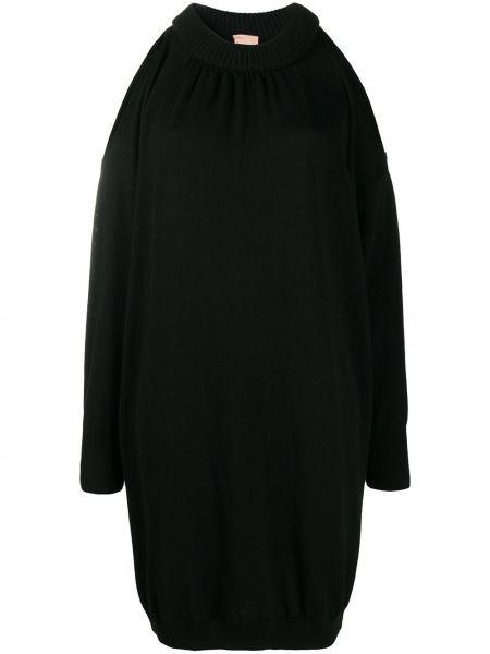 Открытое трикотажное черное платье макси Nude