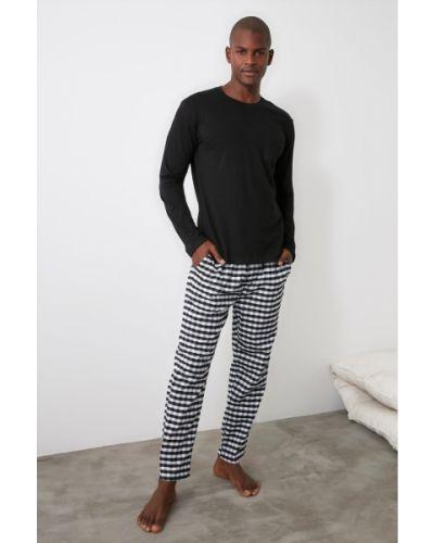 Piżama w kratę - czarna Trendyol