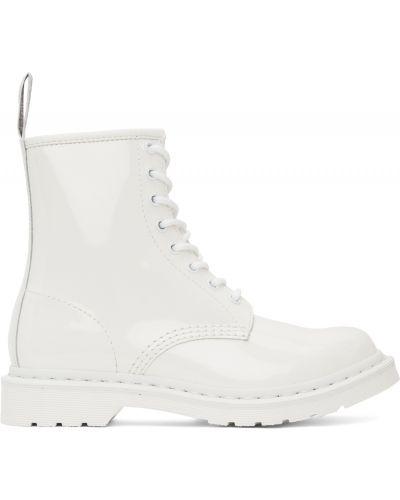 Ботильоны на каблуке - белые Dr. Martens