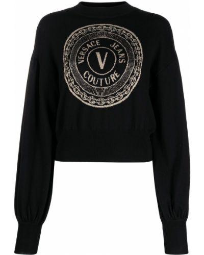 Черные прямые джинсы круглые Versace Jeans Couture