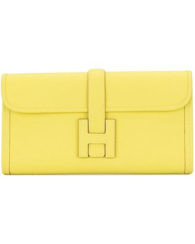 Желтый кожаный клатч Hermes
