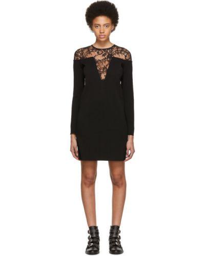 Czarny z rękawami sukienka mini na sznurowadłach z wiskozy Givenchy
