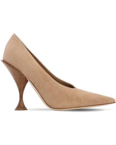 Туфли на каблуке кожаные с острым носком Burberry