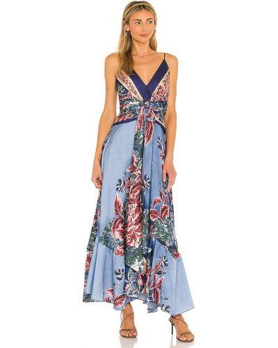 Платье миди атласное - синее Patbo