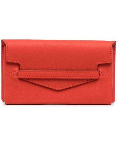 Оранжевый кожаный клатч с карманами Hermes
