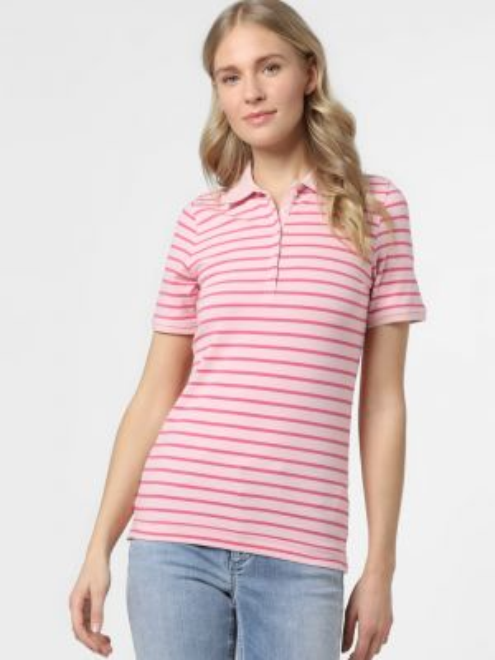 Różowy t-shirt w paski bawełniany Franco Callegari
