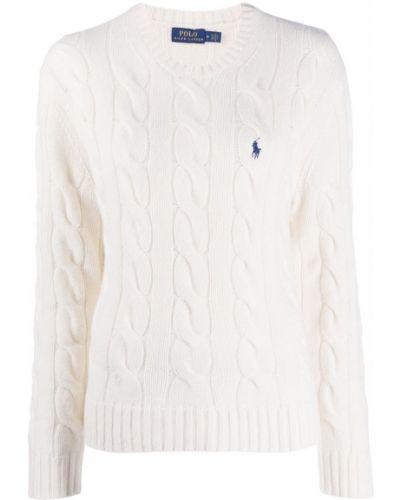 Biały koszulka polo z długimi rękawami z haftem z mankietami Polo Ralph Lauren