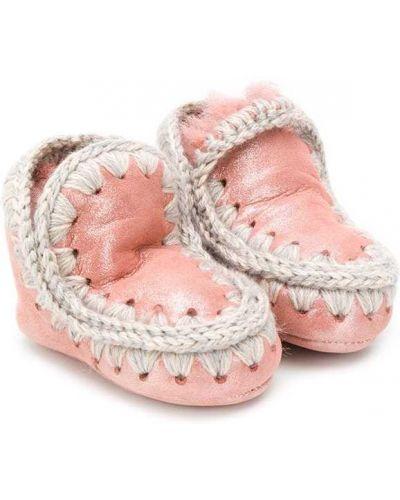 Розовые сапоги из овчины с подкладкой Mou Kids