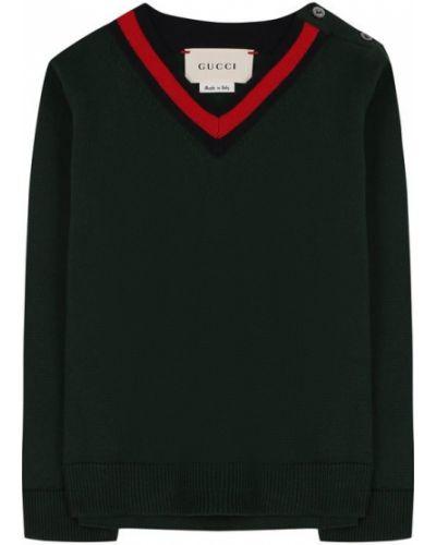 Пуловер в полоску с V-образным вырезом на пуговицах Gucci