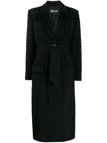 Длинное пальто с узором гусиные лапки шерстяное Just Cavalli