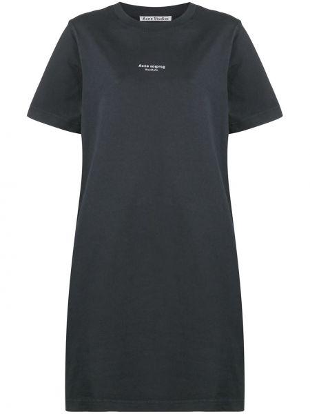 Хлопковое с рукавами черное платье-рубашка Acne Studios
