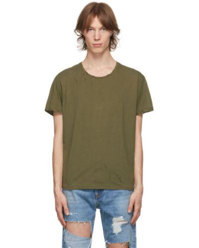 Зеленая трикотажная футболка с воротником R13